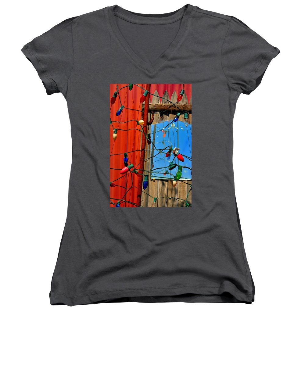 Skip Hunt Women's V-Neck (Athletic Fit) featuring the photograph Electric Lady Land by Skip Hunt
