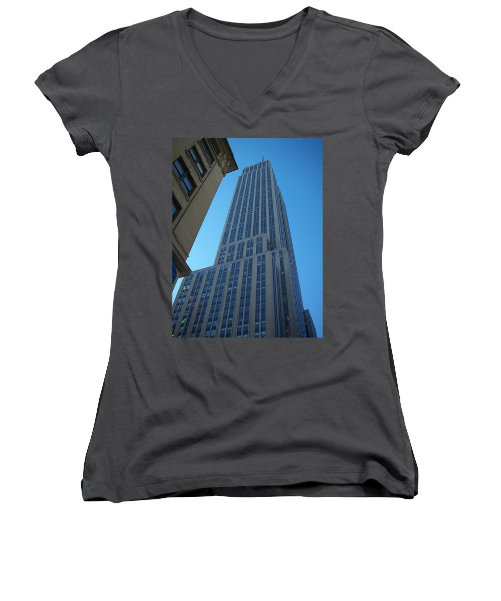 Emoire State Building Women's V-Neck (Athletic Fit) featuring the photograph Empire State 2 by Anita Burgermeister