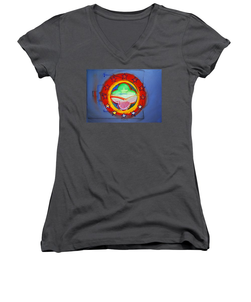 Symbol Women's V-Neck T-Shirt featuring the painting EMU by Charles Stuart