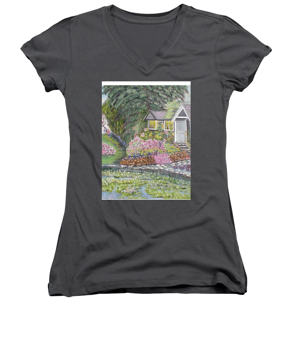 Cottage Women's V-Neck T-Shirt featuring the painting English Cottage by Hal Newhouser