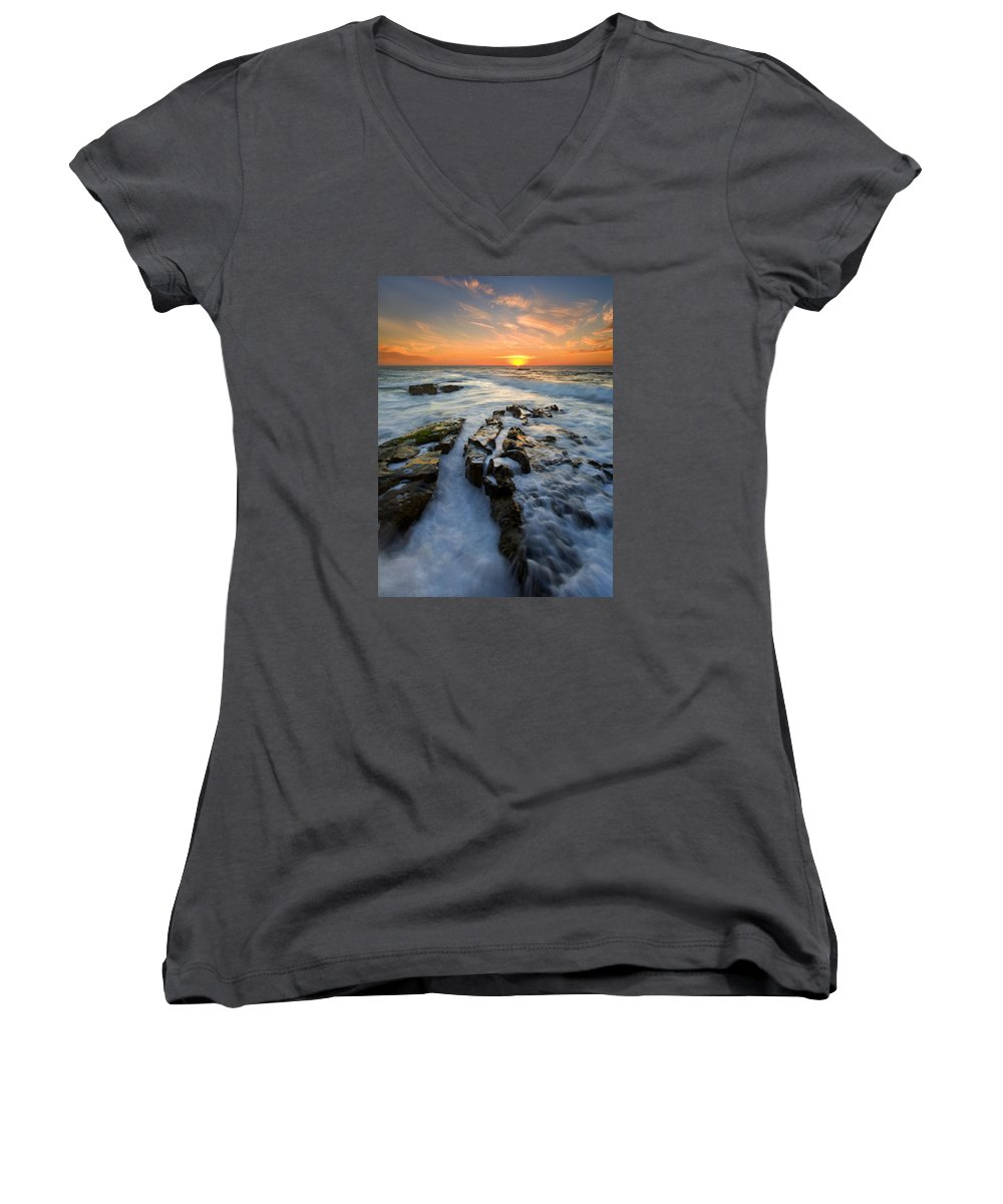 Sunset Women's V-Neck (Athletic Fit) featuring the photograph Engulfed by Mike Dawson
