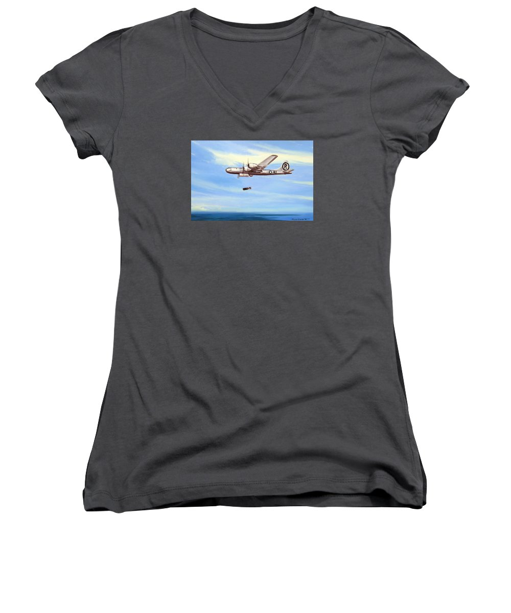 Military Women's V-Neck T-Shirt featuring the painting Enola Gay by Marc Stewart