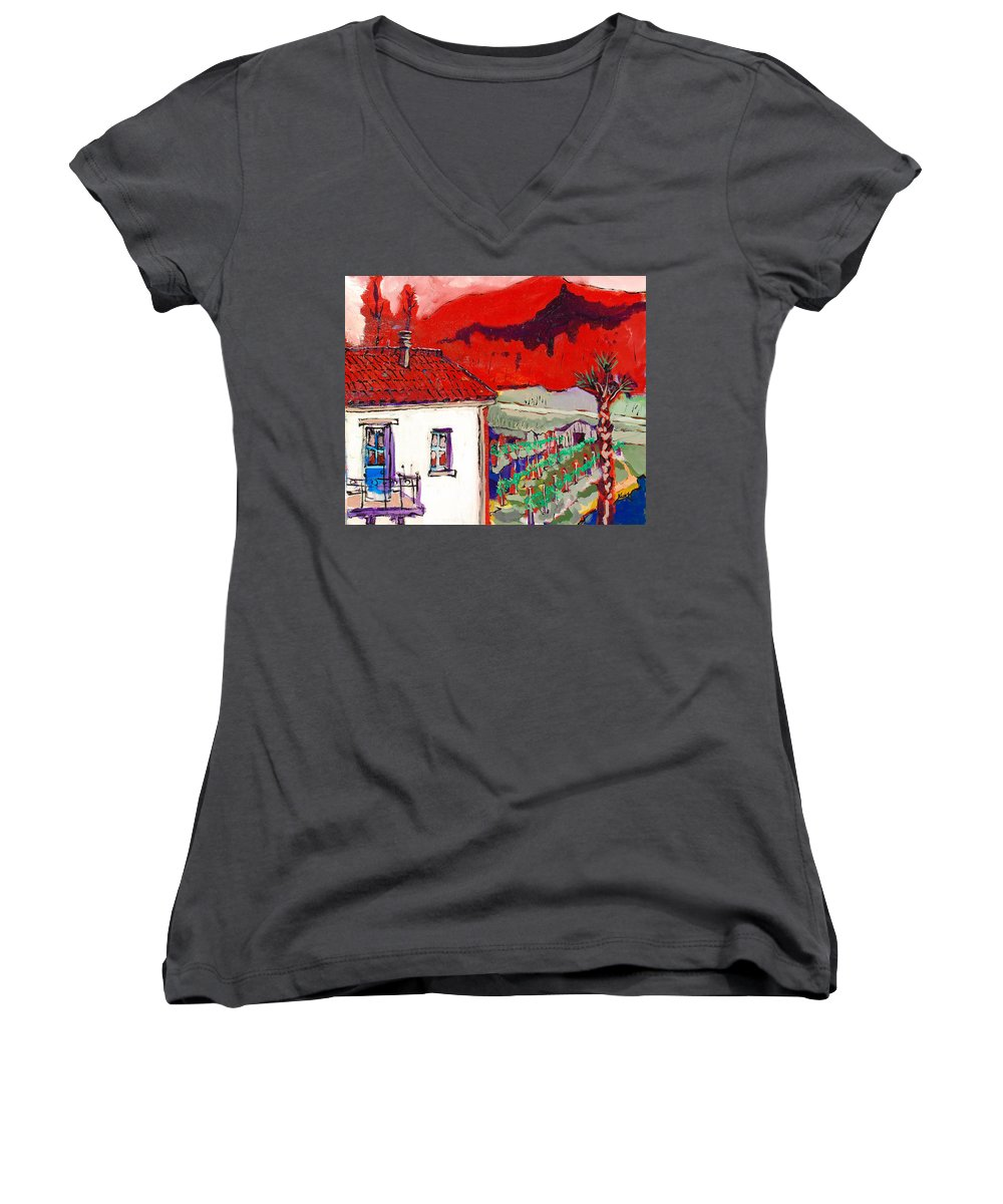 Women's V-Neck T-Shirt featuring the painting Enrico's View by Kurt Hausmann