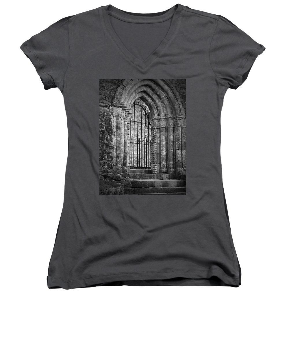 Irish Women's V-Neck (Athletic Fit) featuring the photograph Entrance To Cong Abbey Cong Ireland by Teresa Mucha