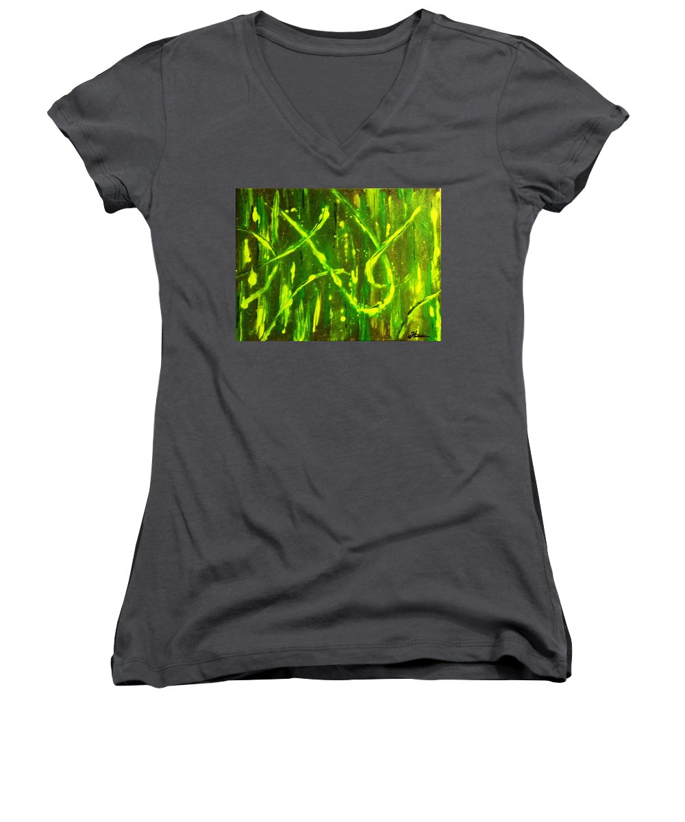 Abstract Women's V-Neck T-Shirt featuring the painting Envy by Todd Hoover