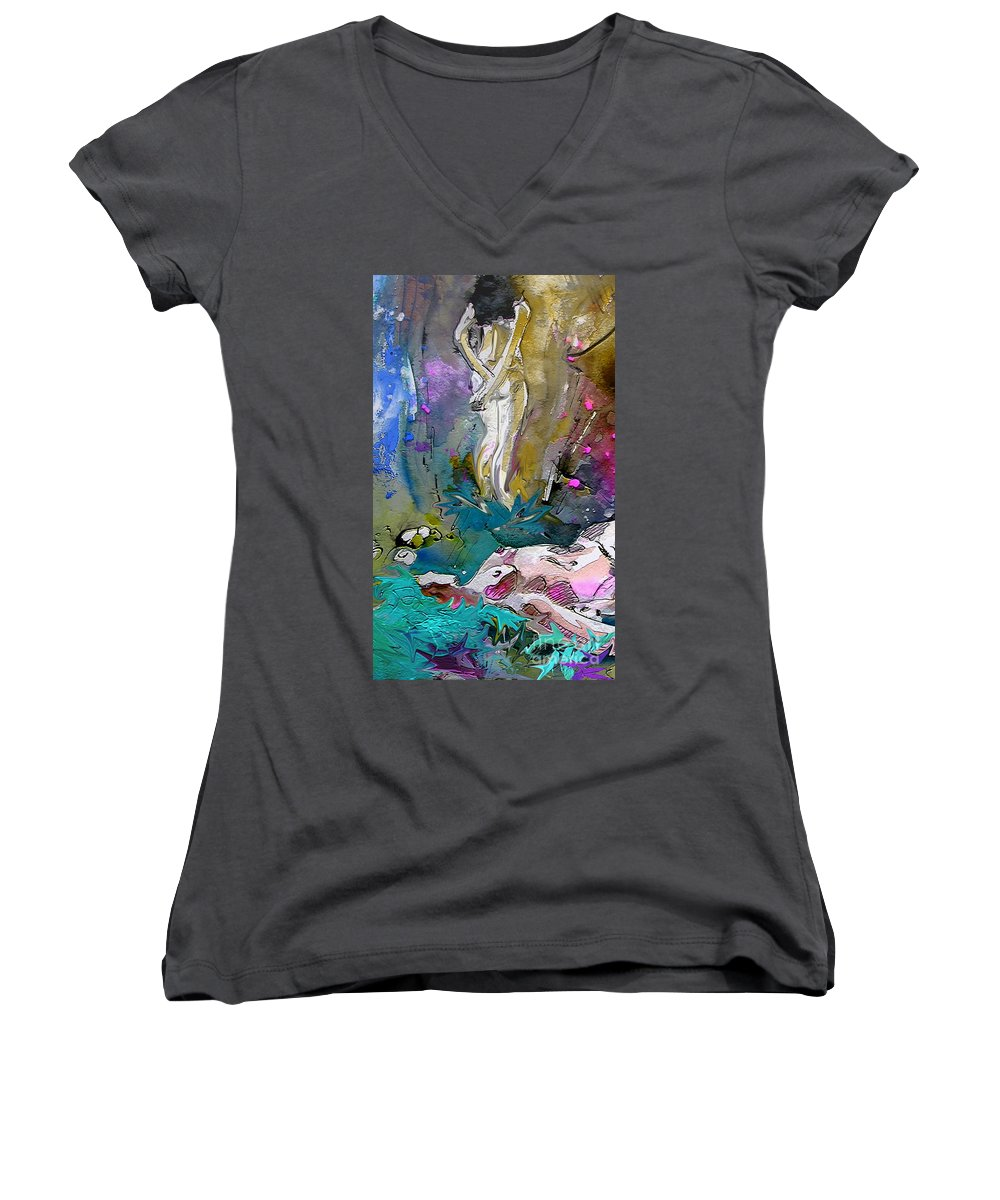 Miki Women's V-Neck T-Shirt featuring the painting Eroscape 1104 by Miki De Goodaboom