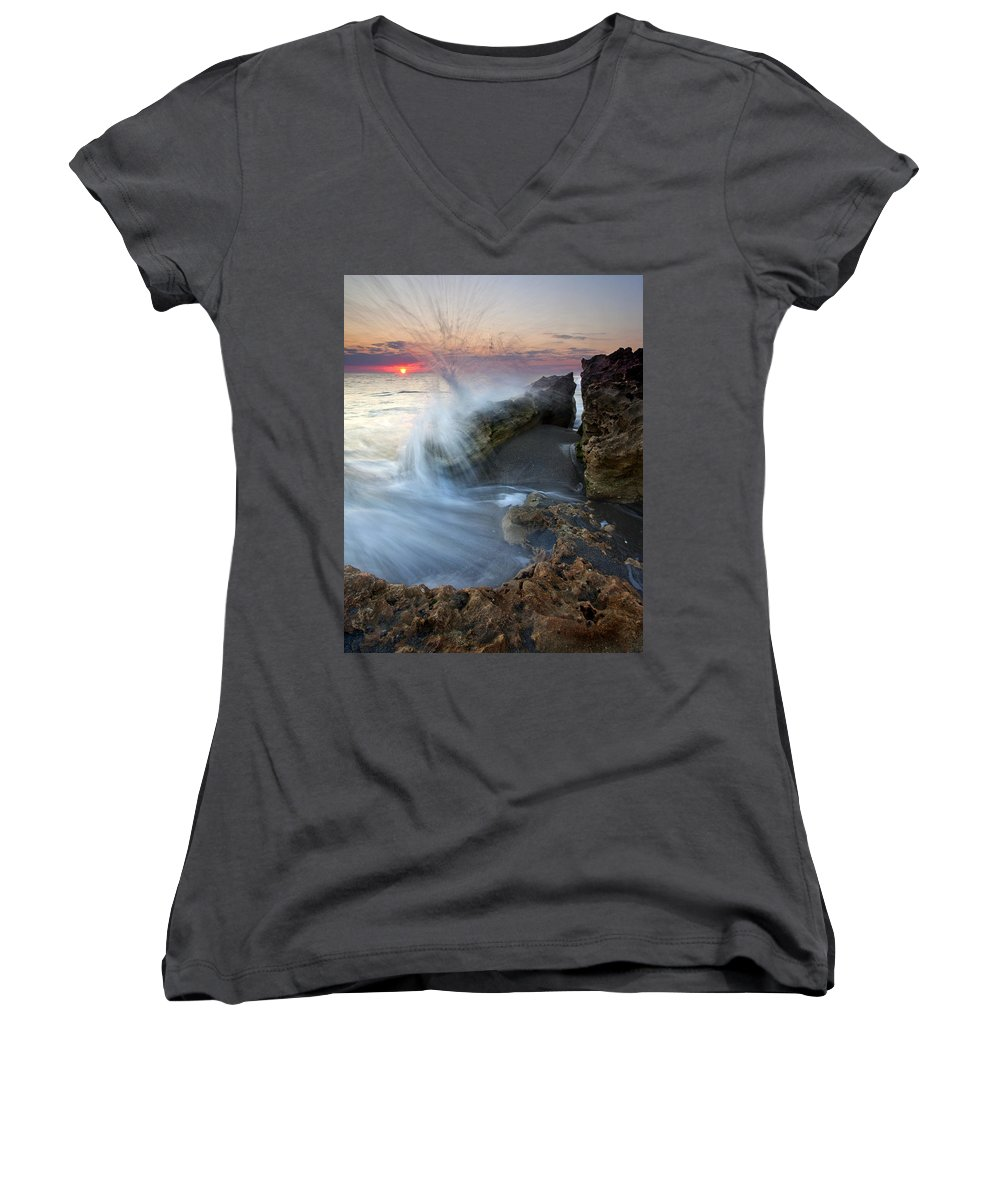 Blowing Rocks Women's V-Neck T-Shirt featuring the photograph Eruption At Dawn by Mike Dawson