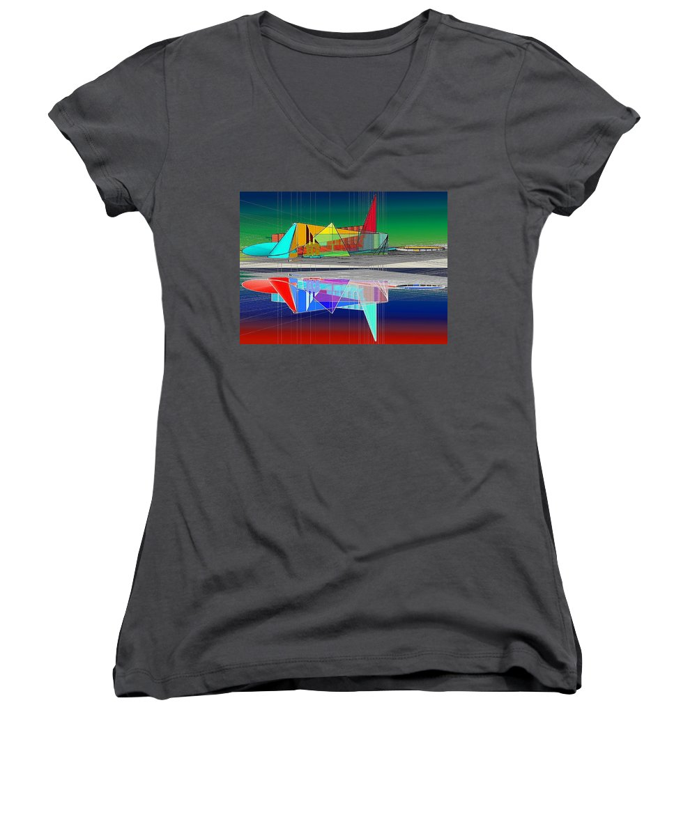 Cathedral Women's V-Neck T-Shirt featuring the digital art Ethereal Reflections by Don Quackenbush