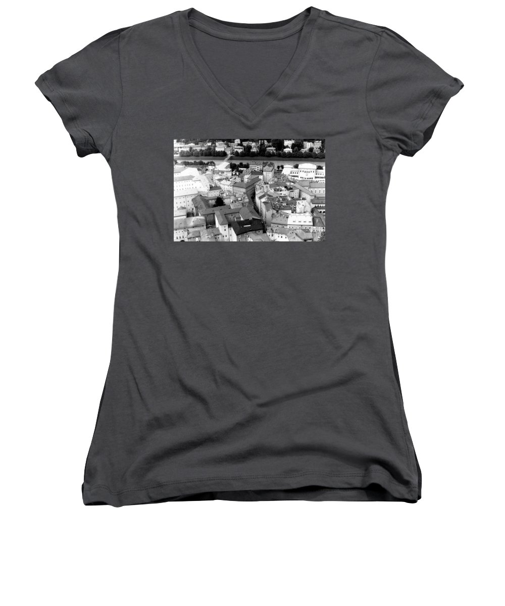 Rofftops Women's V-Neck (Athletic Fit) featuring the photograph European Rooftops by Michelle Calkins