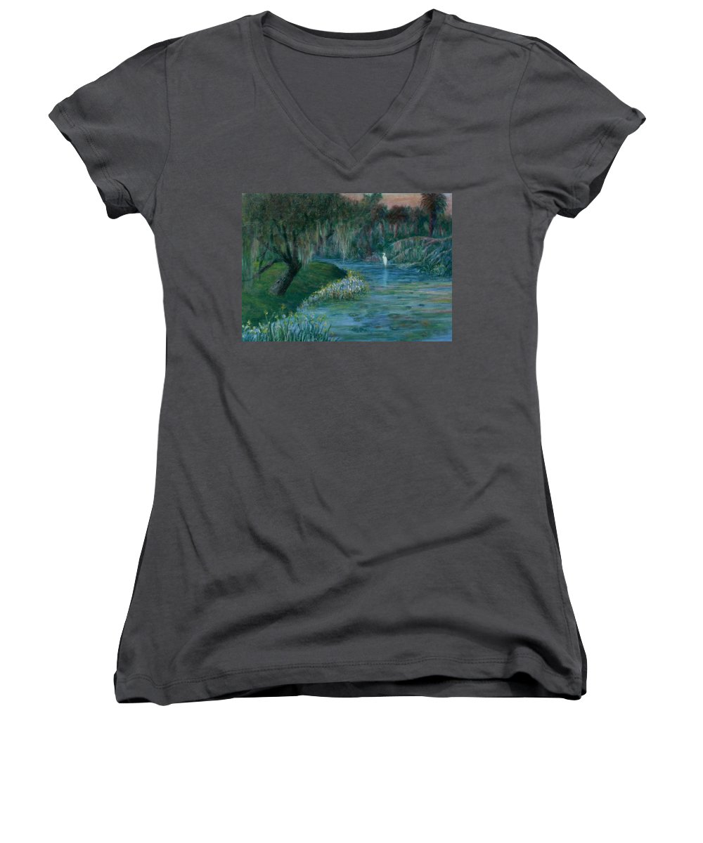 Low Country; Egrets; Lily Pads Women's V-Neck T-Shirt featuring the painting Evening Shadows by Ben Kiger