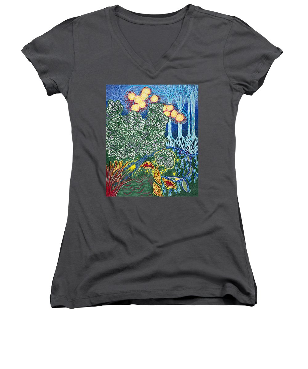 Art Women's V-Neck T-Shirt featuring the drawing Exciting Harmony Art Prints And Gifts Autumn Leaves Botanical Garden Park Plants by Baslee Troutman