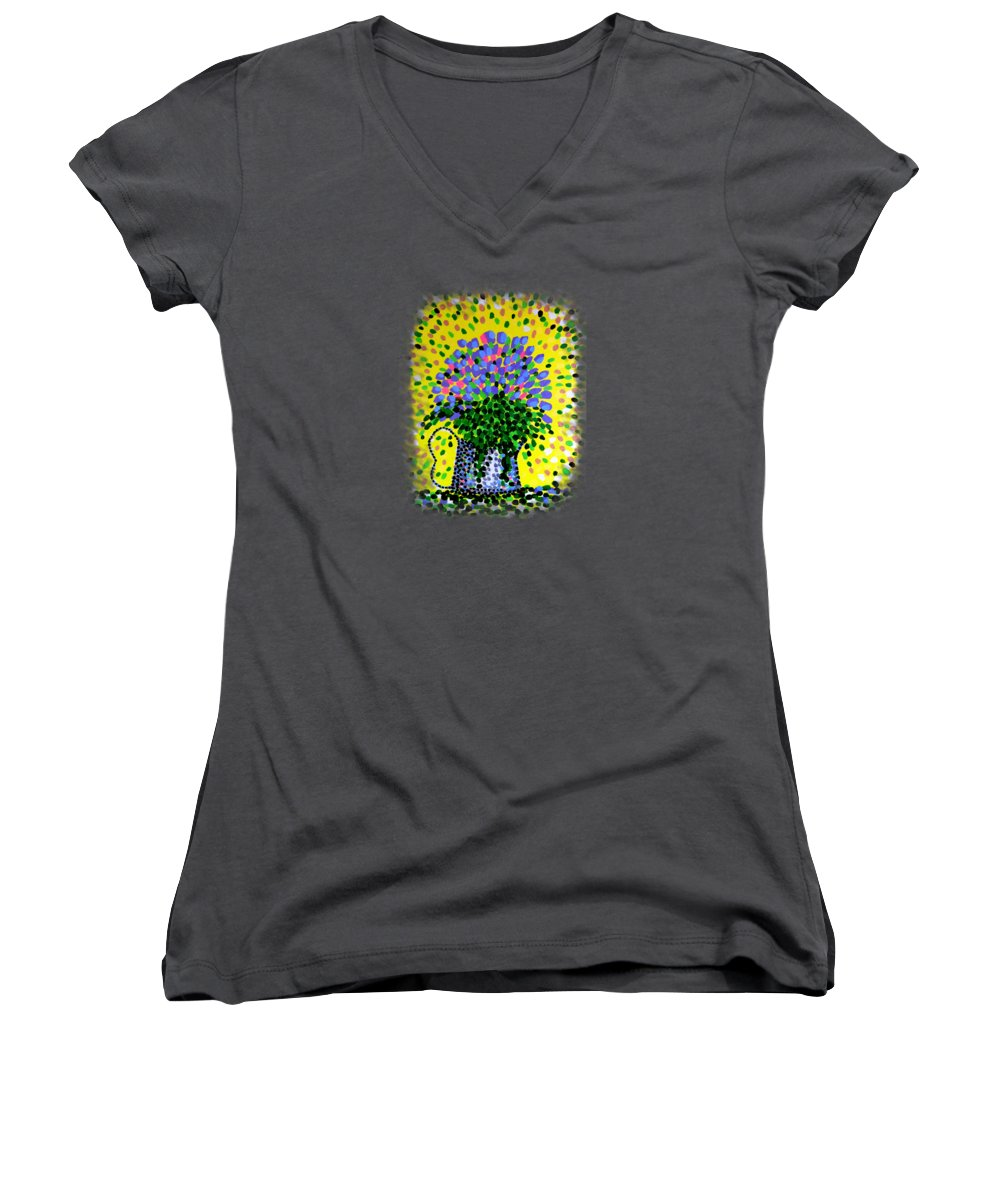 Flowers Women's V-Neck T-Shirt featuring the painting Explosive Flowers by Alan Hogan