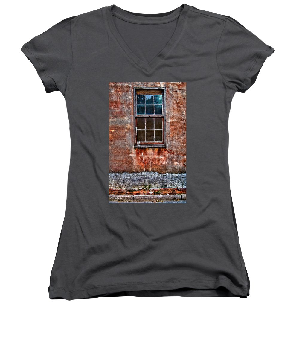 Window Women's V-Neck T-Shirt featuring the photograph Faded Over Time by Christopher Holmes