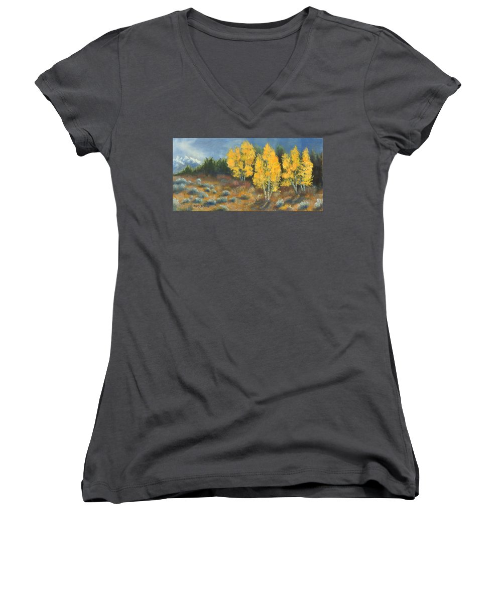 Landscape Women's V-Neck (Athletic Fit) featuring the painting Fall Delight by Jerry McElroy