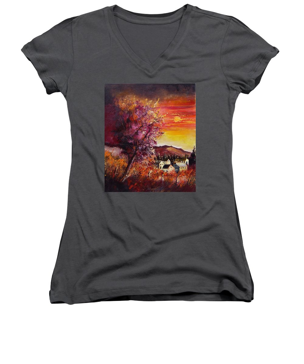 Autumn Women's V-Neck T-Shirt featuring the painting Fall In Villers by Pol Ledent