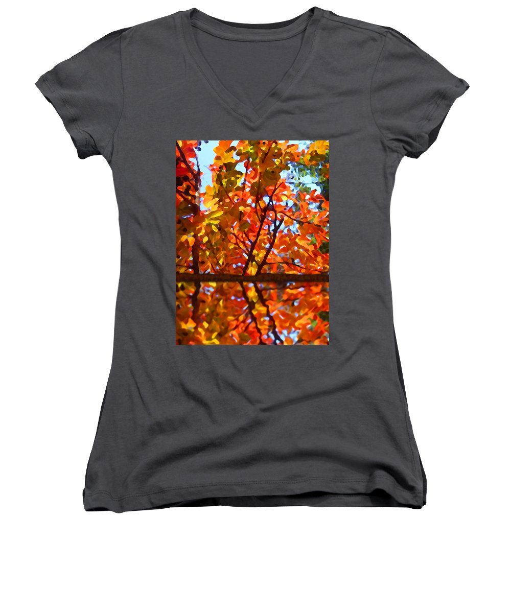 Trees Women's V-Neck T-Shirt featuring the painting Fall Reflextion by Amy Vangsgard