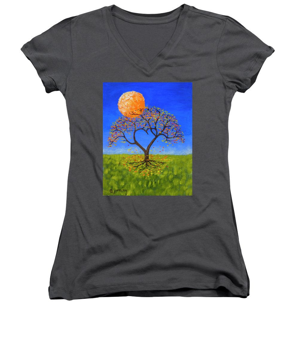 Love Women's V-Neck (Athletic Fit) featuring the painting Falling For You by Jerry McElroy