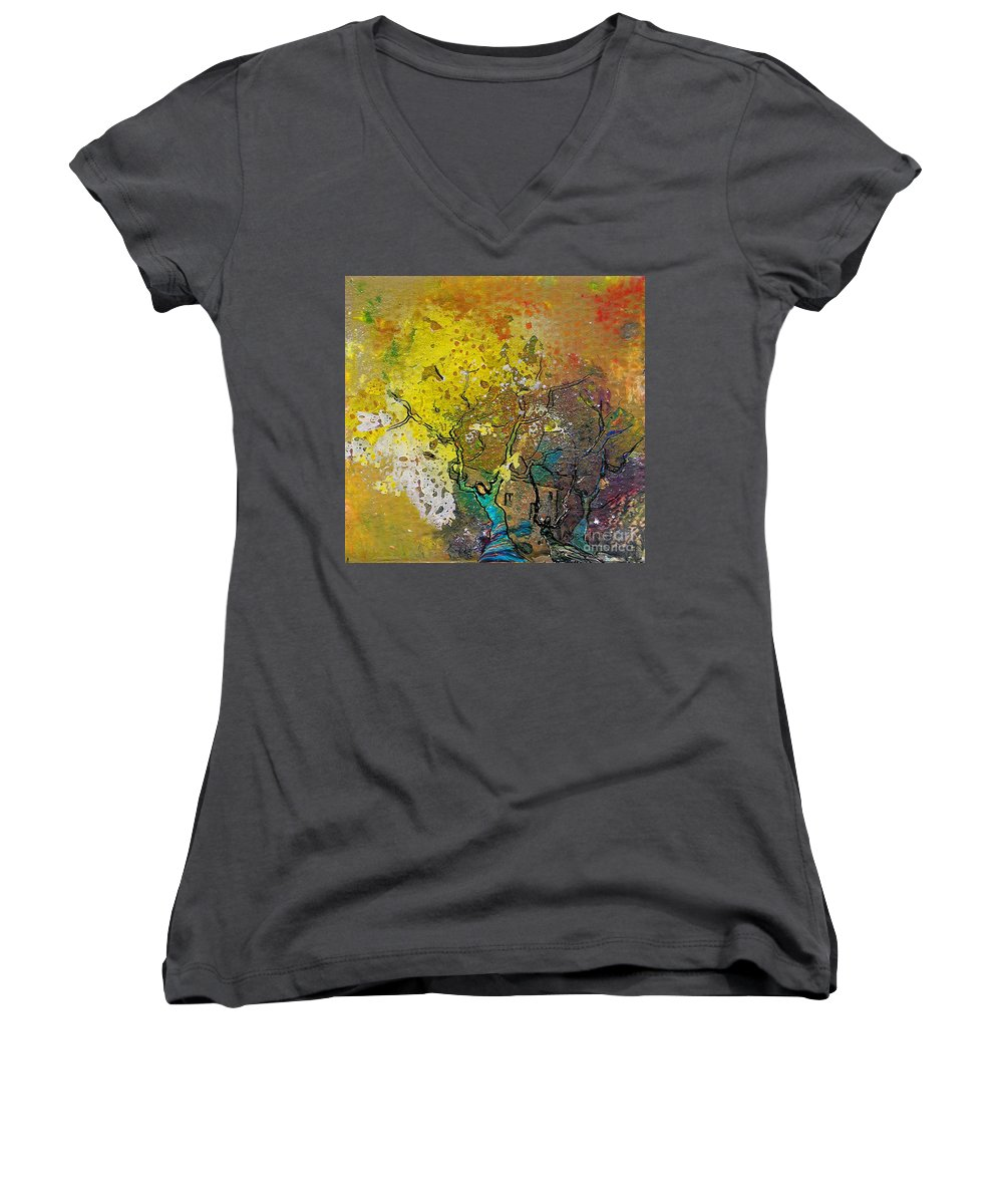 Miki Women's V-Neck T-Shirt featuring the painting Fantaspray 13 1 by Miki De Goodaboom