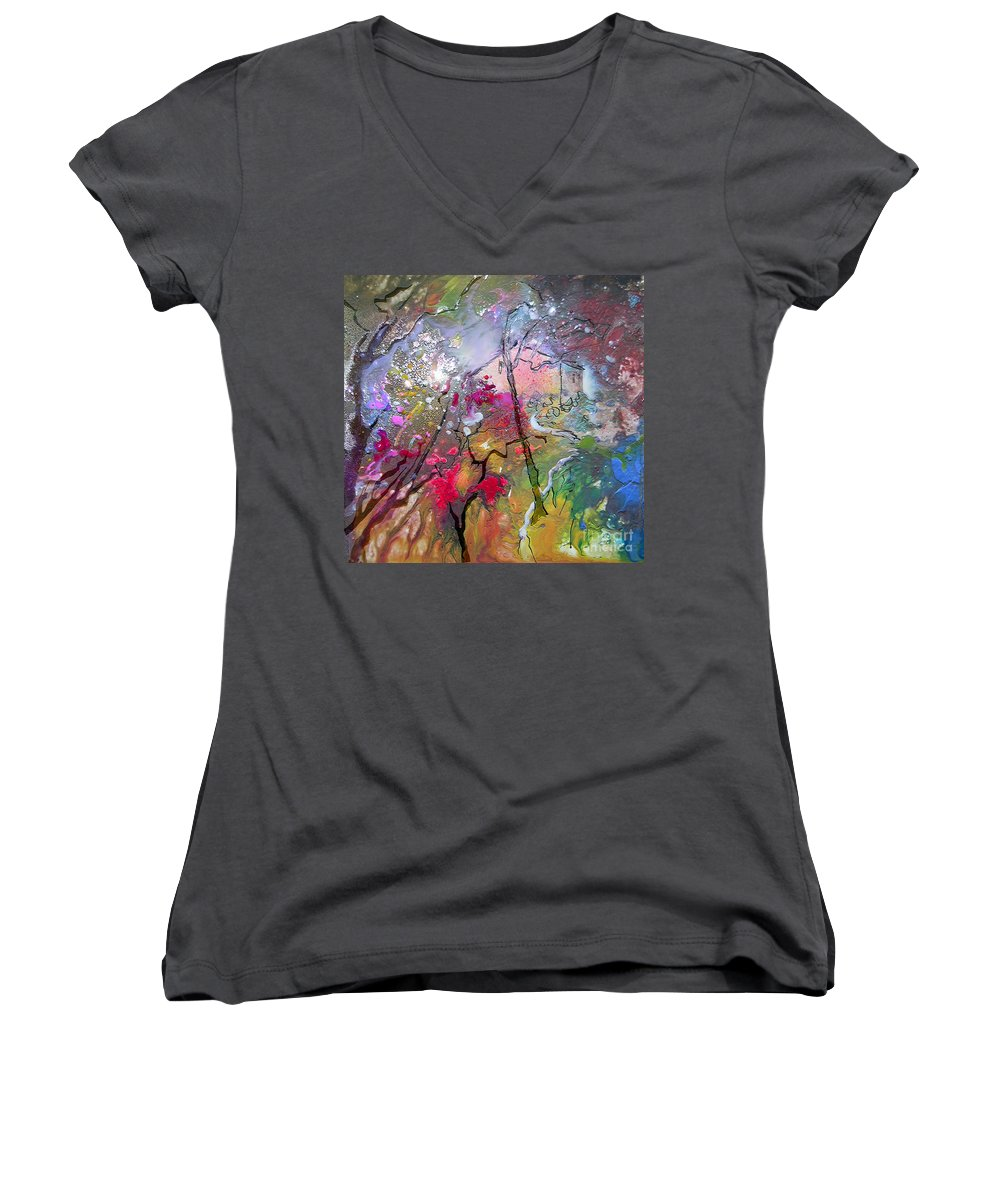 Miki Women's V-Neck (Athletic Fit) featuring the painting Fantaspray 19 1 by Miki De Goodaboom