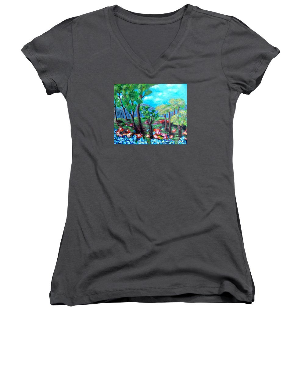 Fantasy Women's V-Neck (Athletic Fit) featuring the painting Fantasy Forest by Laurie Morgan