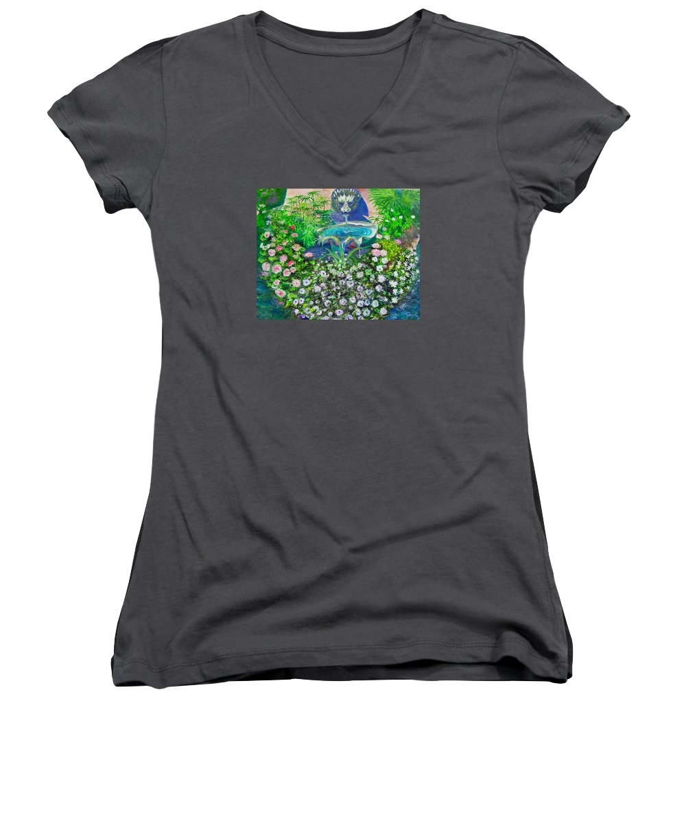 Fountain Women's V-Neck (Athletic Fit) featuring the painting Fantasy Fountain by Michael Durst