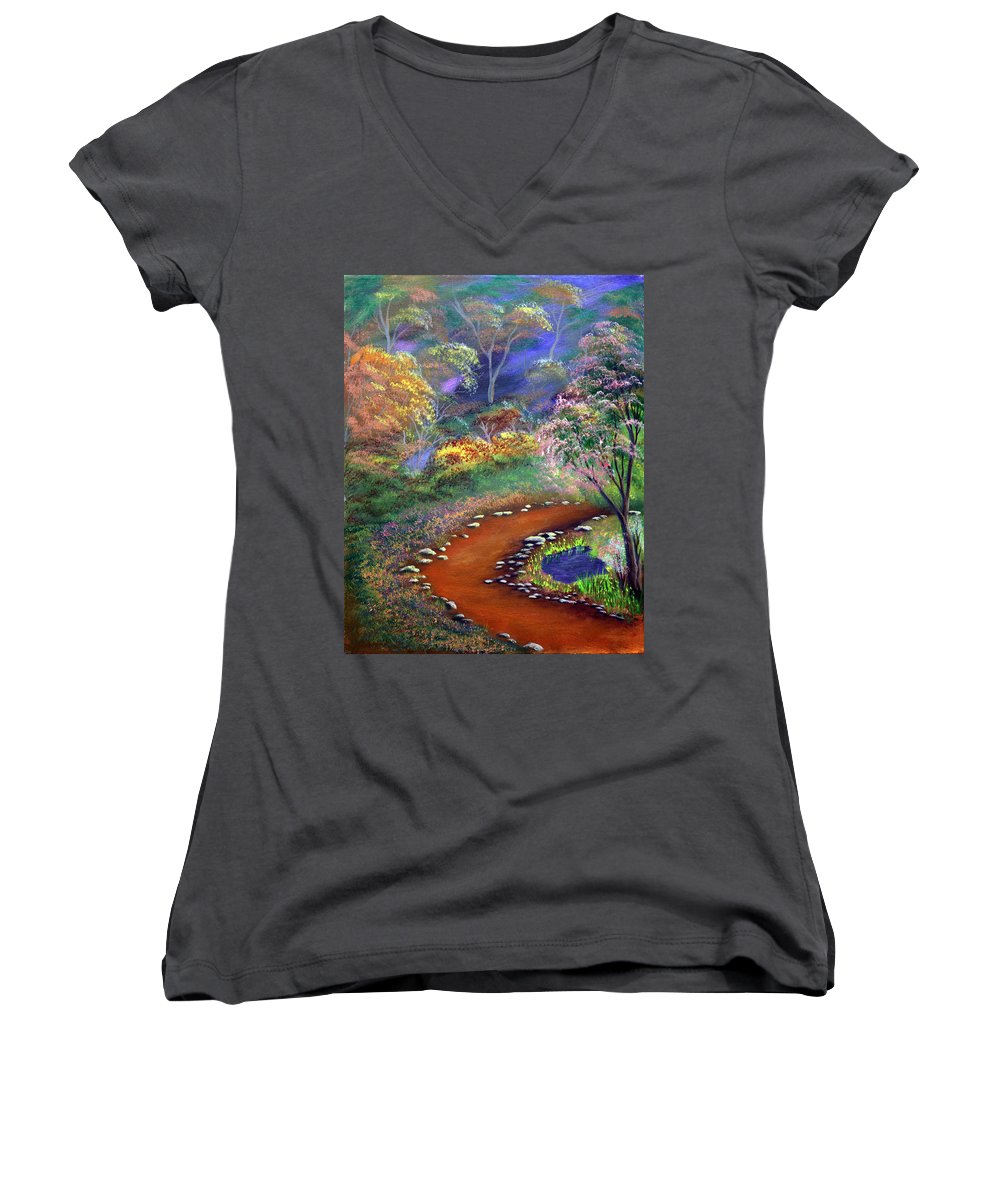 Dawn Blair Women's V-Neck (Athletic Fit) featuring the painting Fantasy Path by Dawn Blair