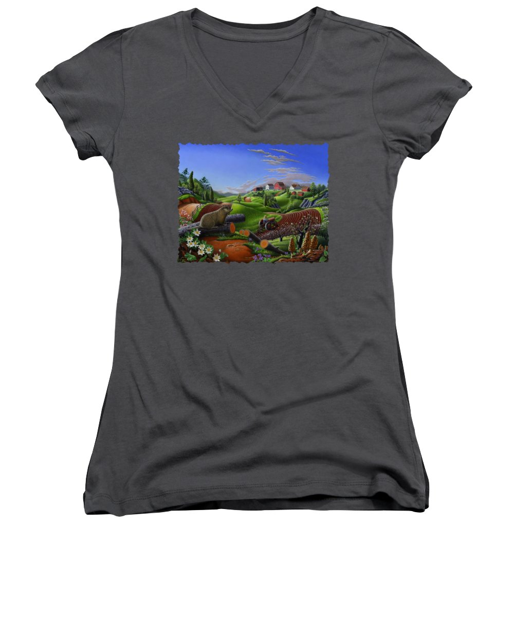 Groundhog Women's V-Neck T-Shirts