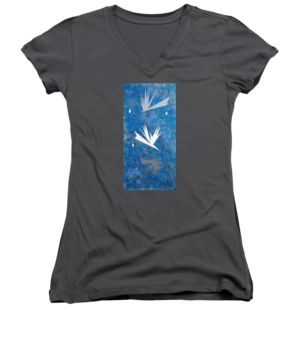 Birds And Diamond Stars Women's V-Neck T-Shirt featuring the painting Feeding Frenzy by J R Seymour