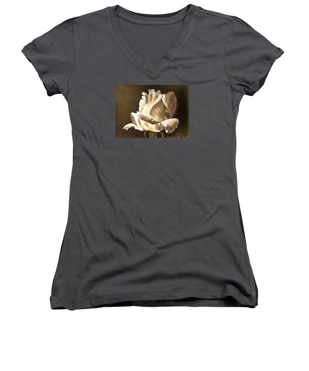 Rose Flower Women's V-Neck (Athletic Fit) featuring the painting Feeling The Light by Natalia Tejera