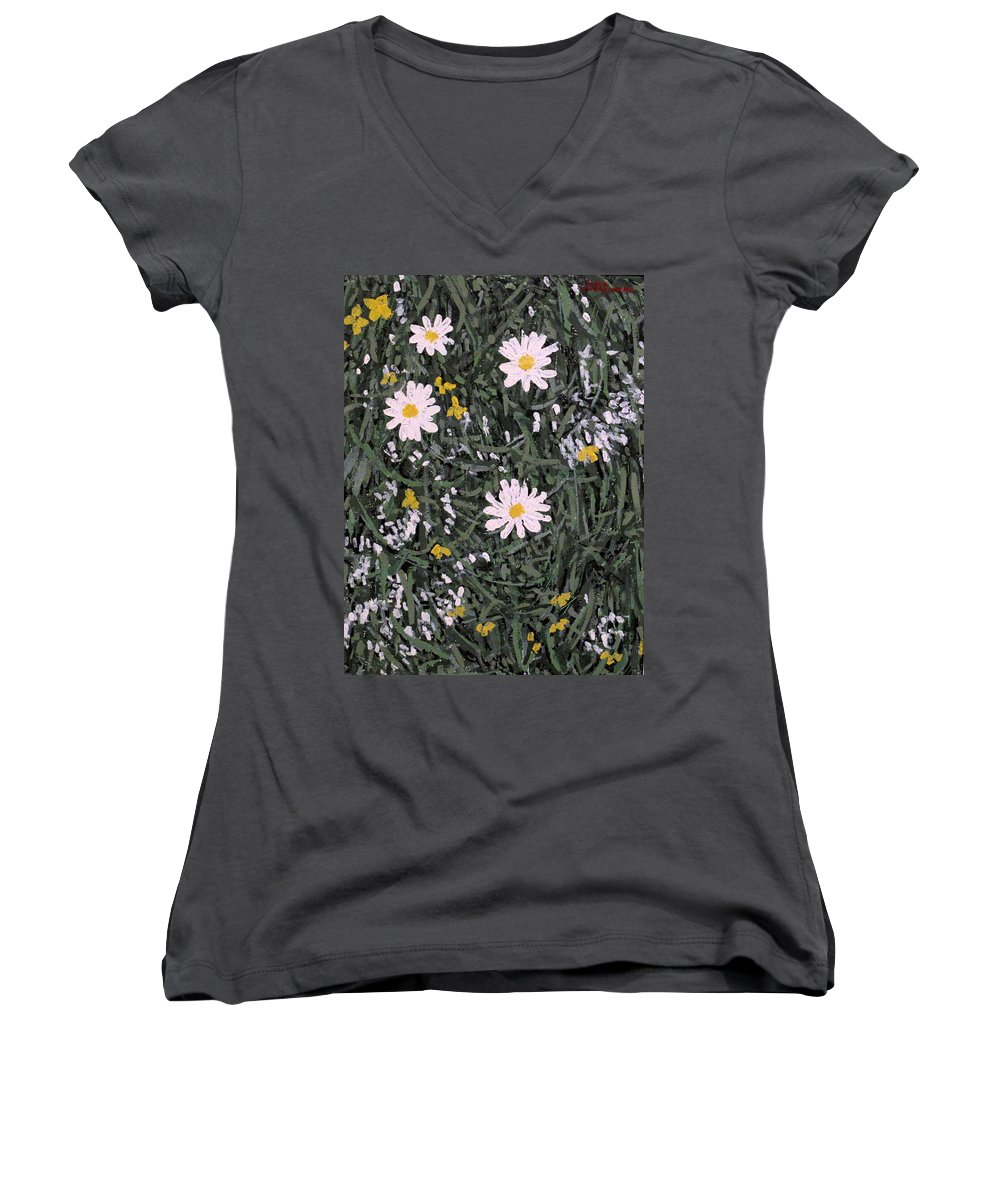 Daisies Women's V-Neck (Athletic Fit) featuring the painting Field Daisies by Ian MacDonald