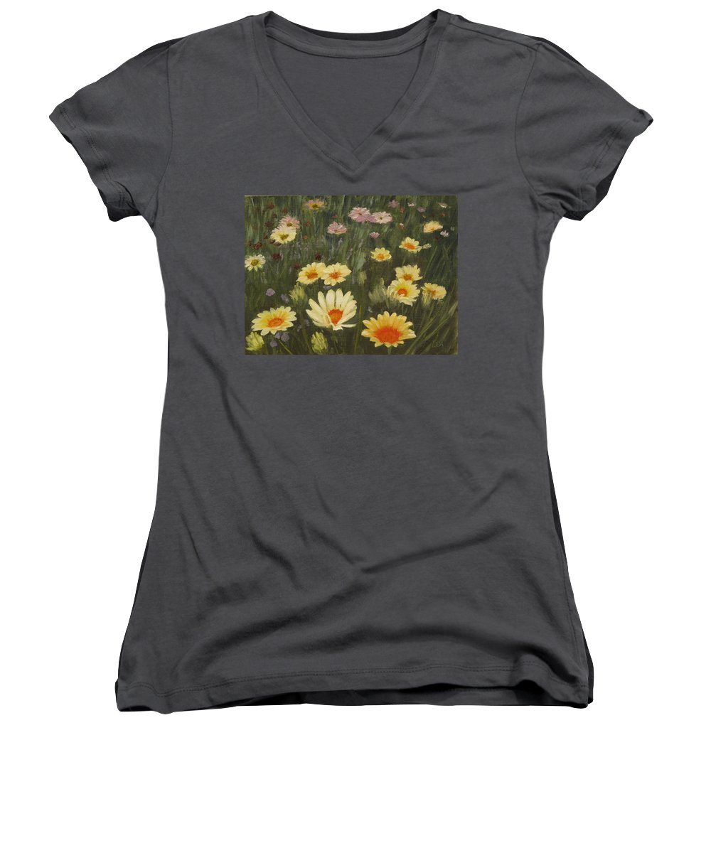 Flower Women's V-Neck T-Shirt featuring the painting Field Of Flowers by Lea Novak