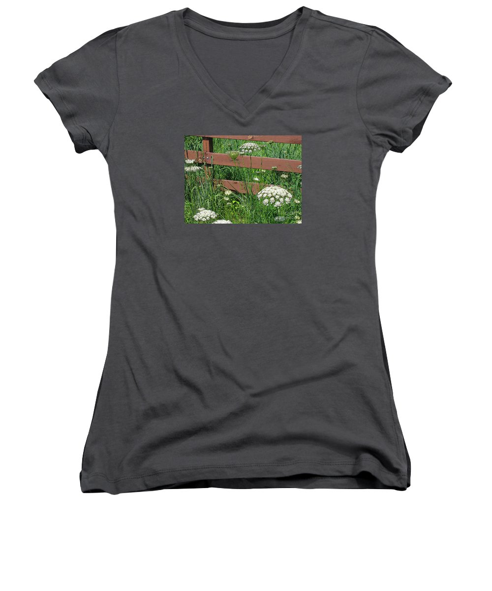 Flower Women's V-Neck T-Shirt featuring the photograph Field Of Lace by Ann Horn