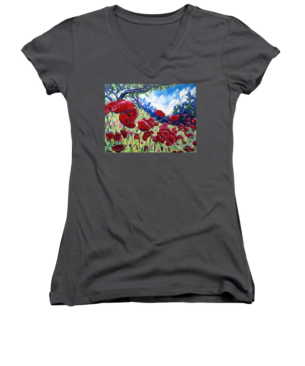 Poppies Women's V-Neck T-Shirt featuring the painting Field Of Poppies 02 by Richard T Pranke