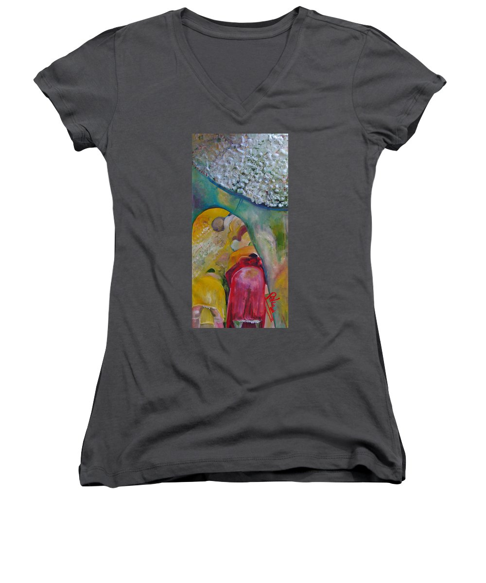 Cotton Women's V-Neck (Athletic Fit) featuring the painting Fields Of Cotton by Peggy Blood