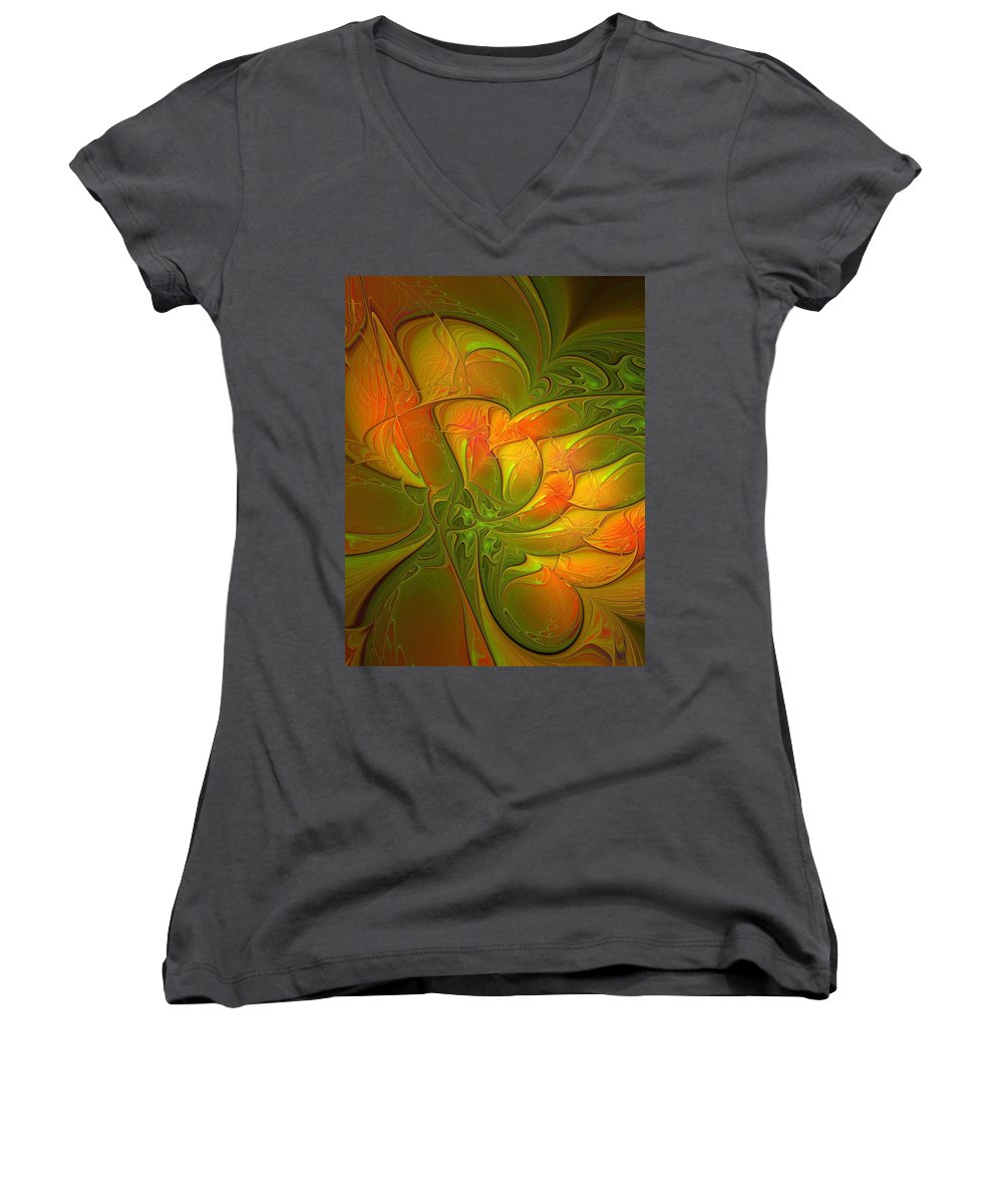 Digital Art Women's V-Neck T-Shirt featuring the digital art Fiery Glow by Amanda Moore