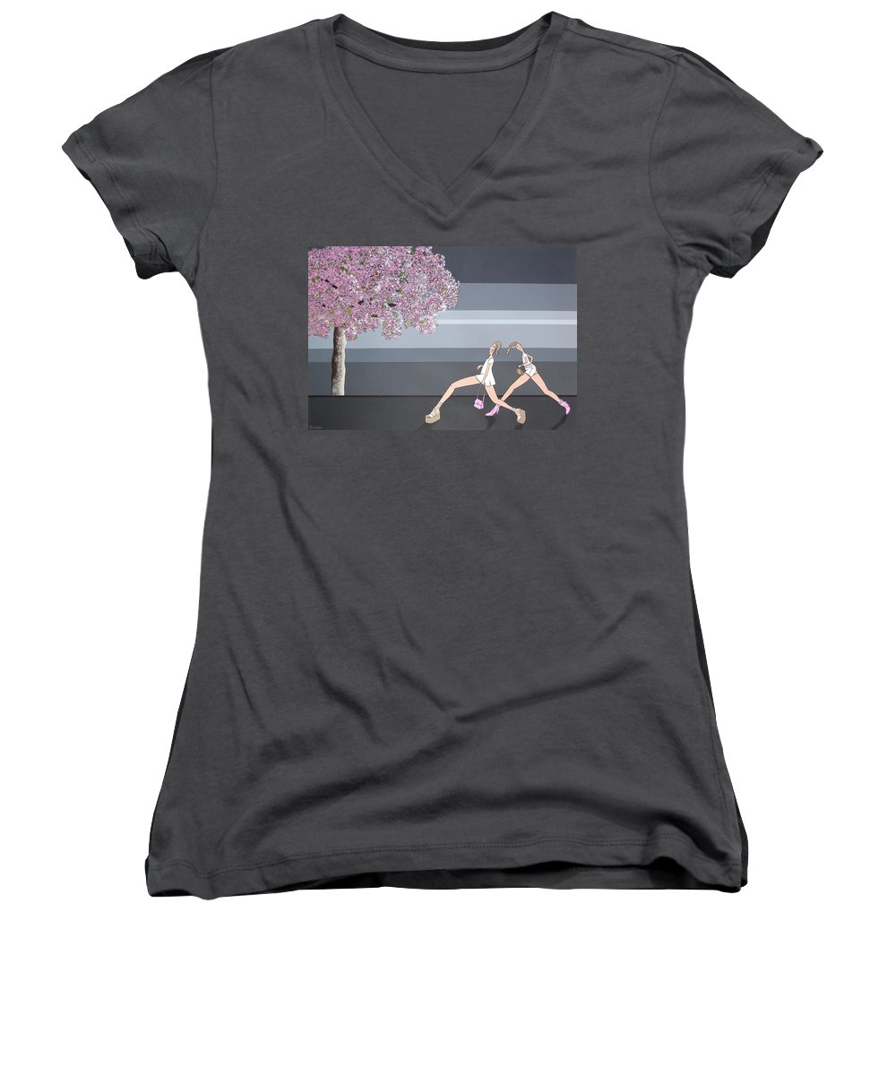 Girls Women's V-Neck T-Shirt featuring the painting Fifteen by Patricia Van Lubeck
