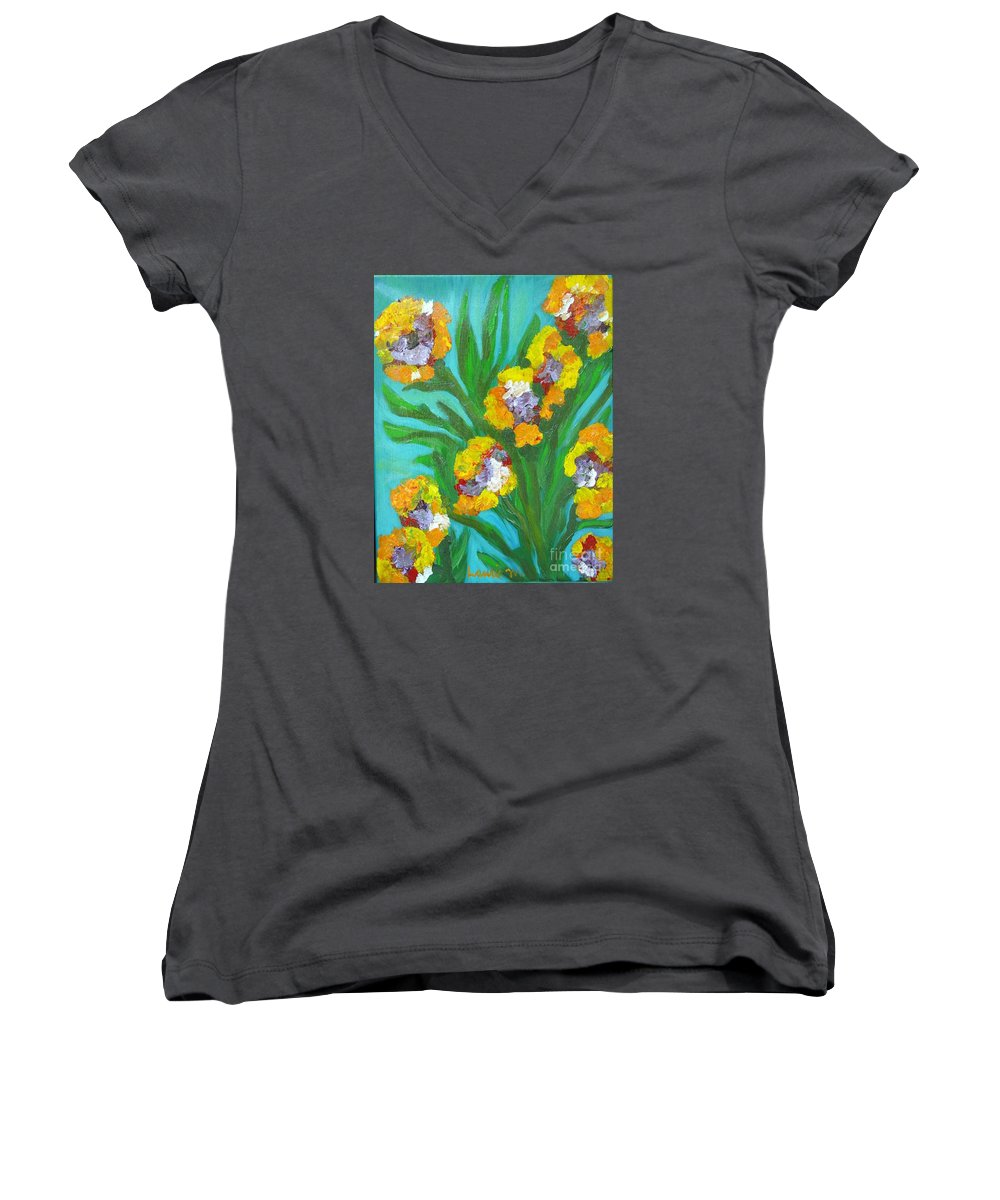 Flower Women's V-Neck T-Shirt featuring the painting Fire Blossoms by Laurie Morgan