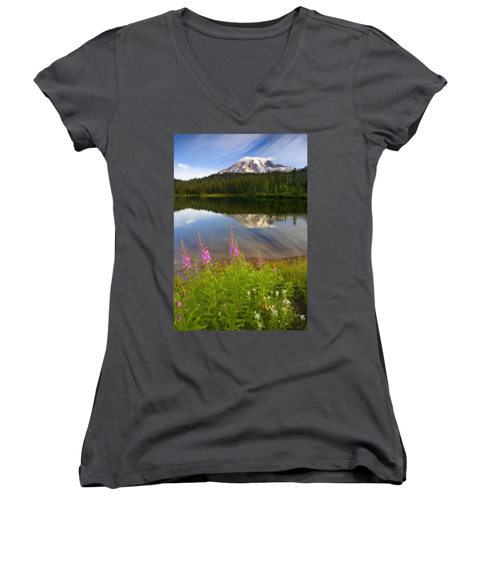 Fireweed Women's V-Neck T-Shirt featuring the photograph Fireweed Reflections by Mike Dawson