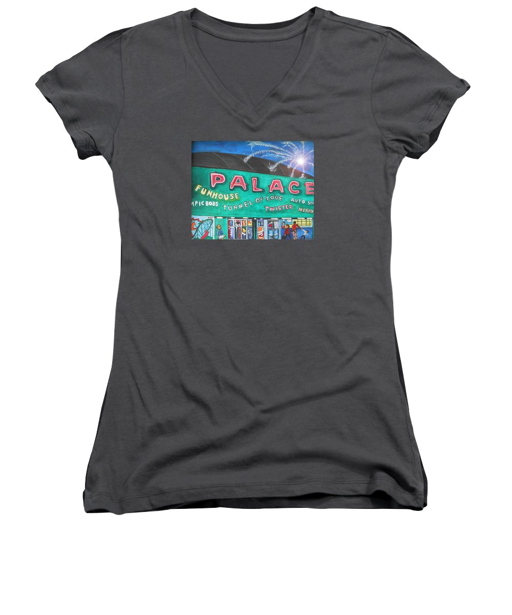 Asbury Park Art Women's V-Neck T-Shirt featuring the painting Fireworks At The Palace by Patricia Arroyo