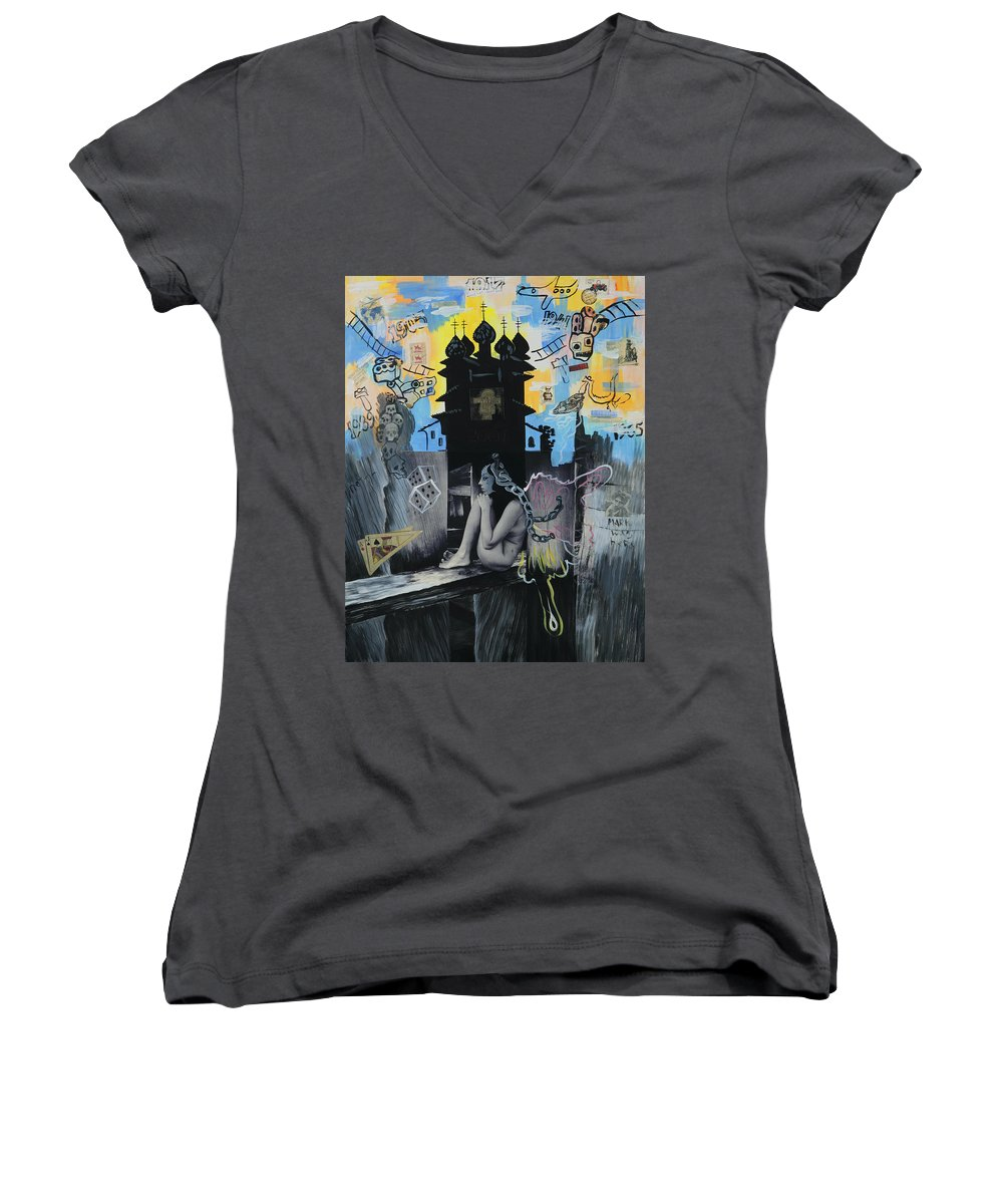 Surreal Women's V-Neck (Athletic Fit) featuring the painting First Butterfly by Yelena Tylkina