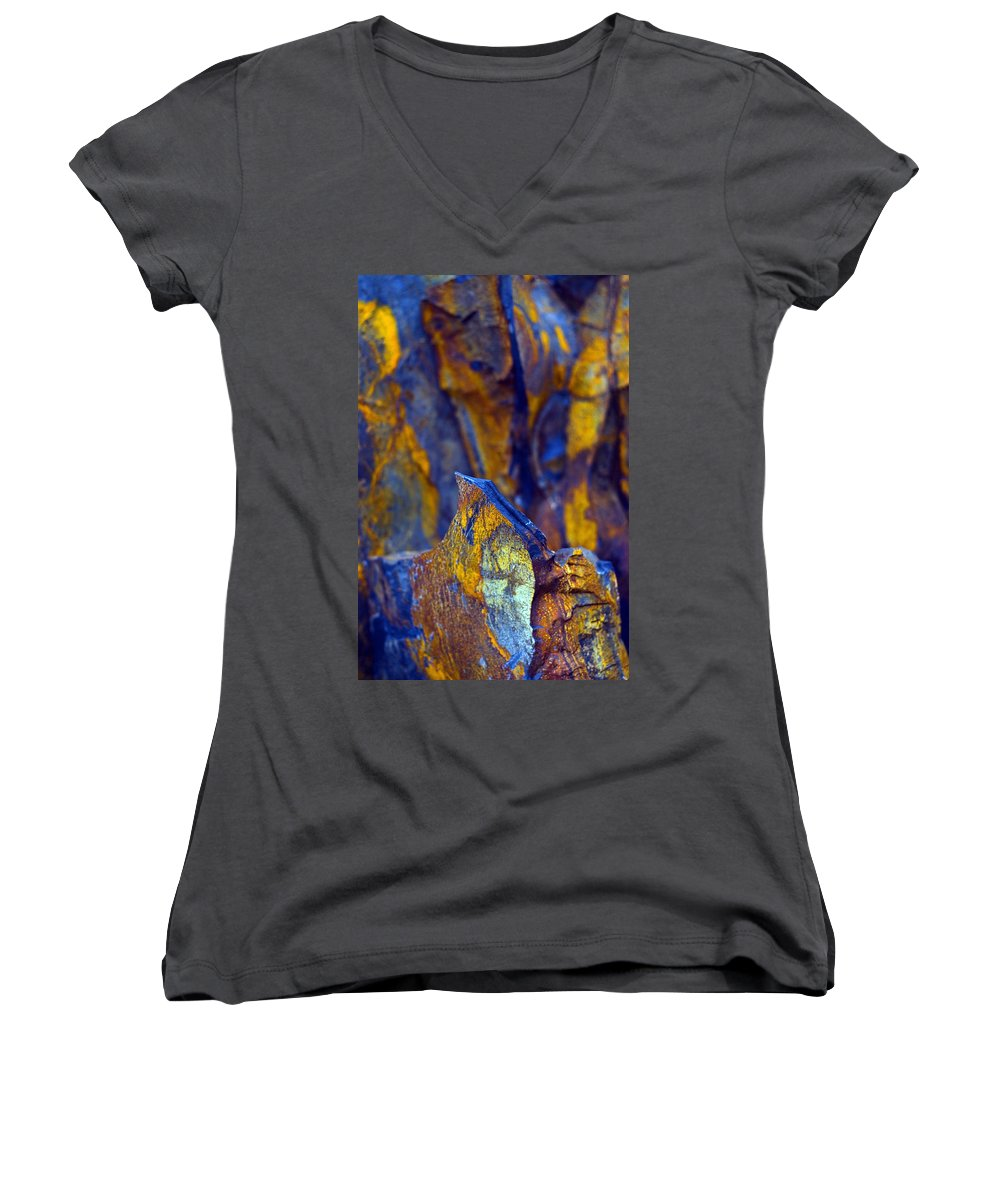 Texture Women's V-Neck T-Shirt featuring the photograph First Cut Is The Deepest by Skip Hunt