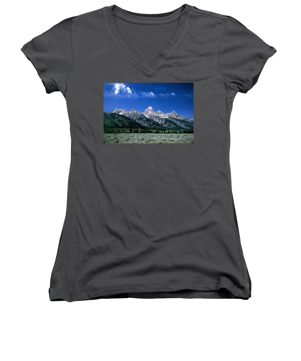 Mountains Women's V-Neck (Athletic Fit) featuring the photograph First View Of Tetons by Kathy McClure