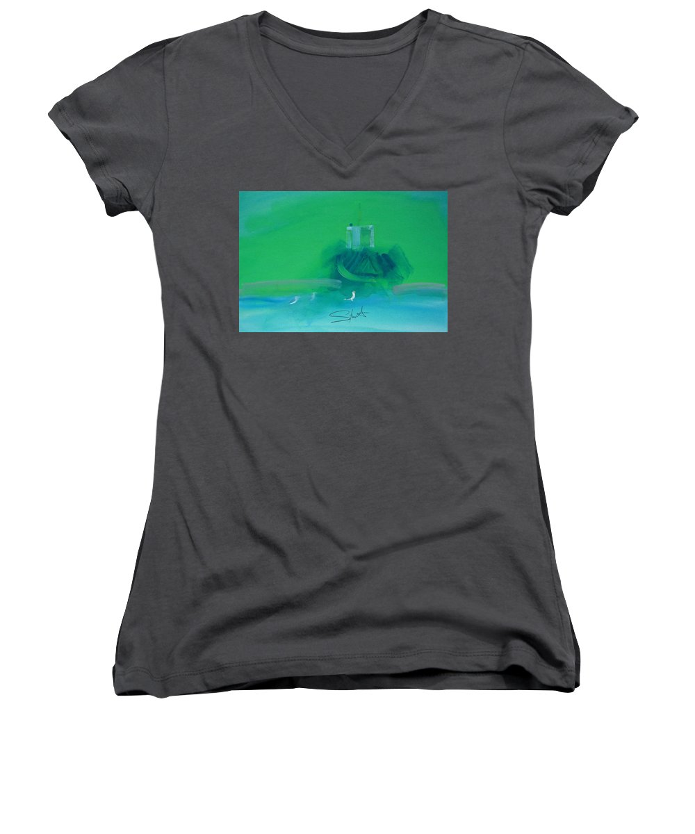 Fishing Boat Women's V-Neck (Athletic Fit) featuring the painting Fishing Boat With Seagulls by Charles Stuart