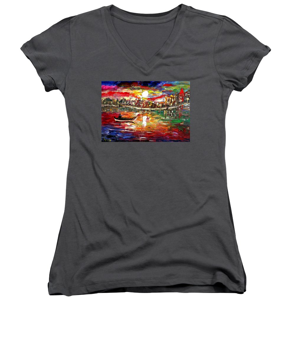 Art Women's V-Neck (Athletic Fit) featuring the painting Fishing In The Moonlight by Luiza Vizoli
