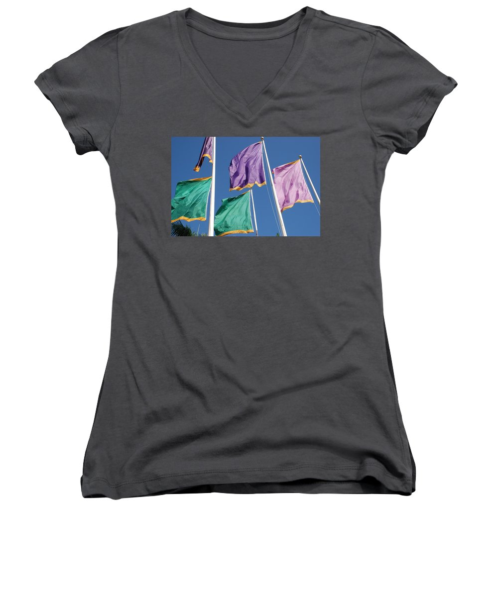 Flags Women's V-Neck T-Shirt featuring the photograph Flags by Rob Hans