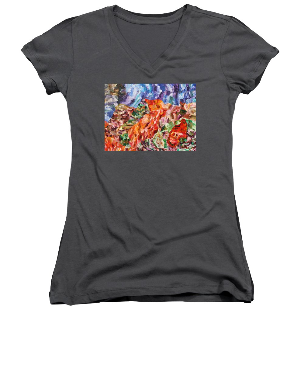 Fusionart Women's V-Neck T-Shirt featuring the painting Flock by Ralph White