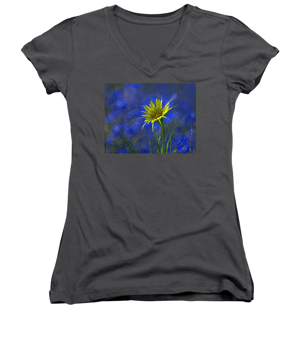 Flower Women's V-Neck T-Shirt featuring the photograph Flower And Flax by Heather Coen