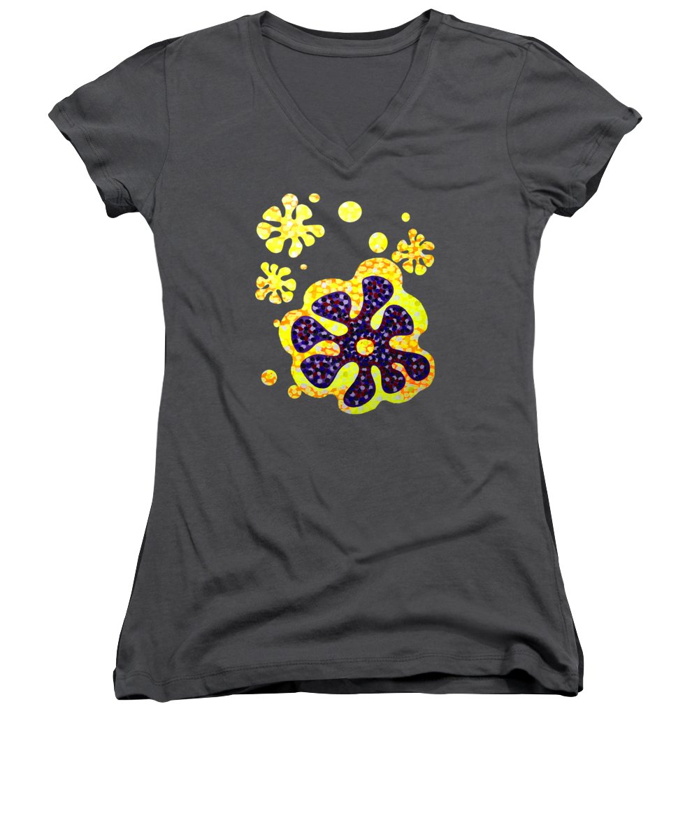 Acrylic Women's V-Neck T-Shirt featuring the painting Flower For Rafa by Alan Hogan