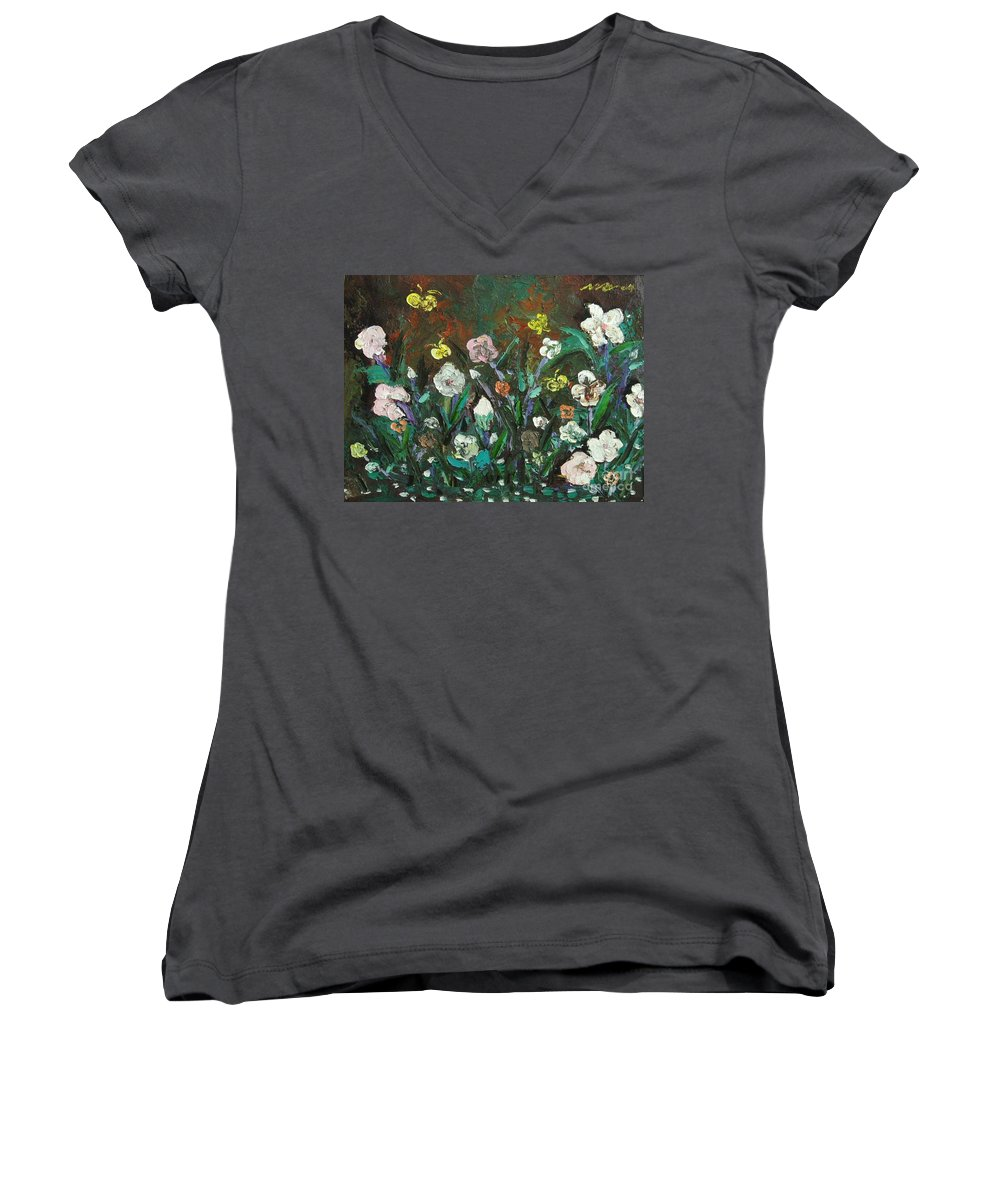 Abstract Paintings Women's V-Neck (Athletic Fit) featuring the painting Flower Garden by Seon-Jeong Kim
