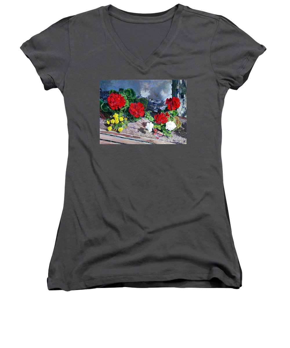 Colorful Flowers Outside Of The Church Women's V-Neck (Athletic Fit) featuring the painting Flowers At Church by Scott Robertson